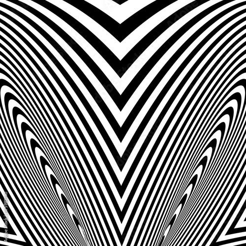 Plakat Abstrakt przekręcający czarny i biały tło. Złudzenie optyczne zniekształconej powierzchni. Skręcone paski.