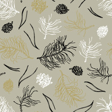 Merry Christmas! Seamless Pattern With Twigs And Pine Cones In White, Black, Golden And Silver Color. Vector Illustration.