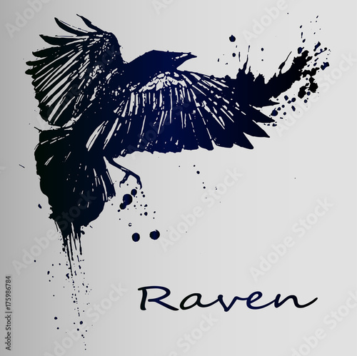 A creative sketch of a tattoo is a dark raven. Canvas Print