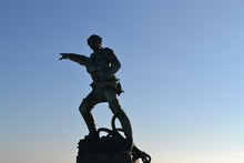 Statue Of Robert Surcouf (1773 – 1827) Pointing To The Ocean, In Saint Malo, Brittany, France