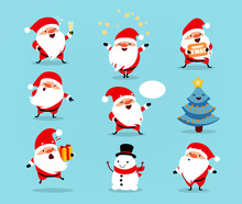 Collection Of Christmas Santa Claus. Set Of Funny Cartoon Characters With Different Emotions. Vector Illustration Isolated On Light Blue