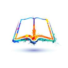 Open Book Icon. Vector Splash Paint