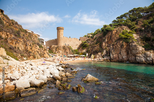 Tossa de mar, view of the castle tower and city walls Canvas Print