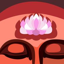 Human Head With Lotus Flower O...