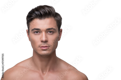 Stickers pour porte Akt Attractive youthful male is expressing confidence