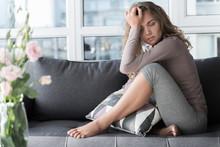 Sorrowful Lady Feeling Pain In...