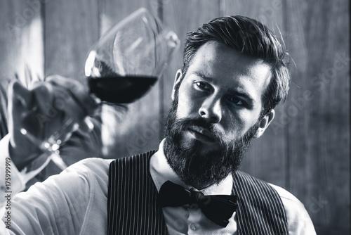 Fotografia, Obraz Sommelier tasting wine