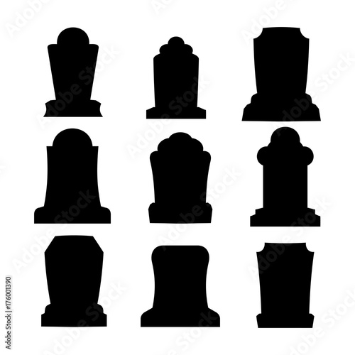 Tombstone silhouette set for halloween Canvas Print