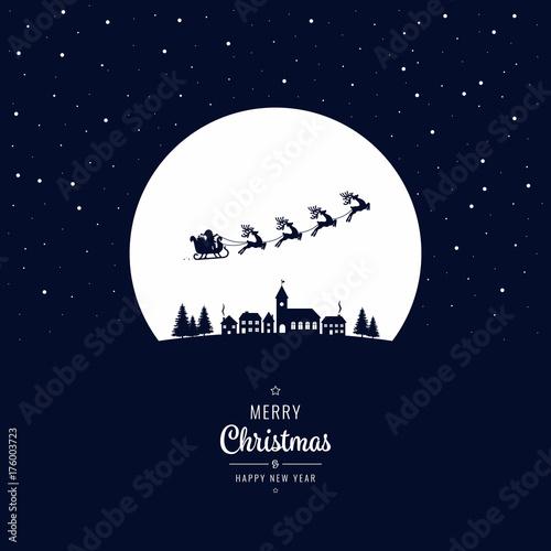 Plakat Santa sanie latające do zimowej wioski noc Bożego Narodzenia
