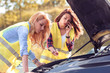 Two young girls with a broken car on the road