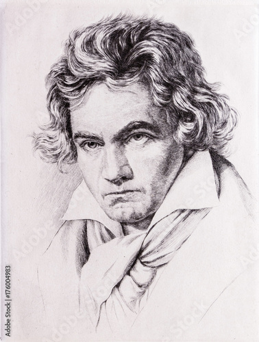 Photo Portrait of Ludwig van Beethoven.
