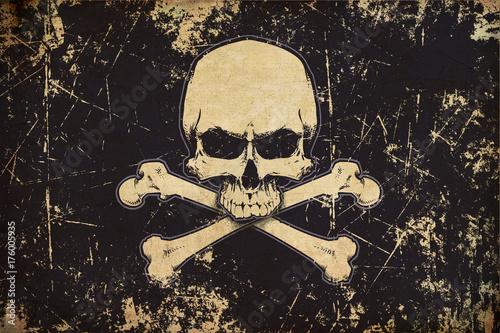 Plakat Pirates Jawless Czaszka i Kości Wieku Płaskiej Flagi