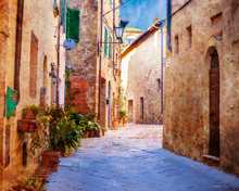 Vintage Image Of Old Town Street