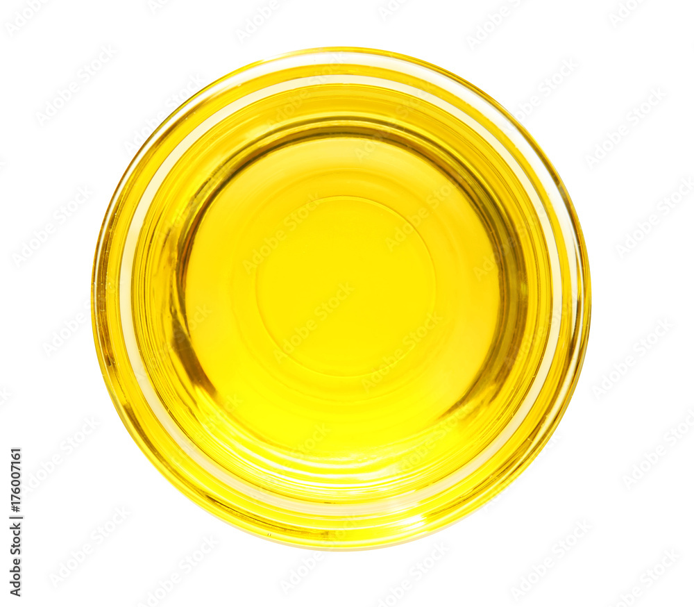 Fototapety, obrazy: Glass bowl with cooking oil on white background