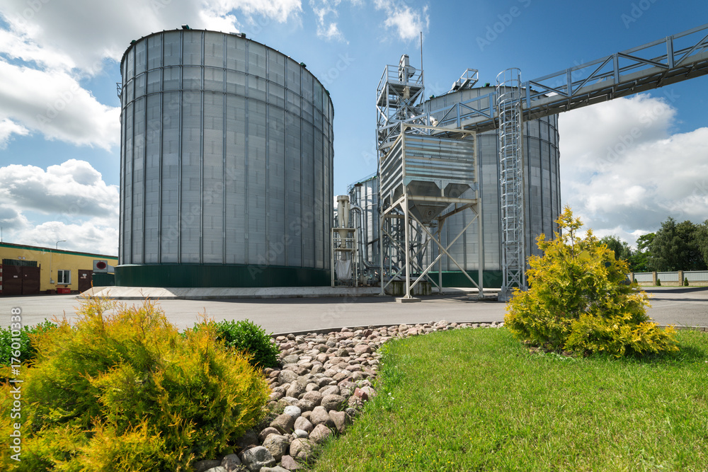 Fototapety, obrazy: Large modern granary. In the foreground there is a luscious green grass