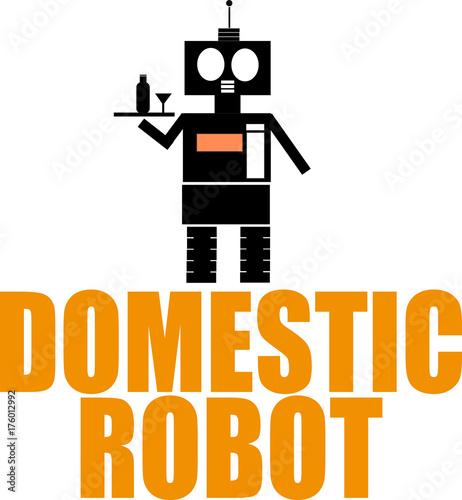 Domestic robot word text logo Illustration  Household