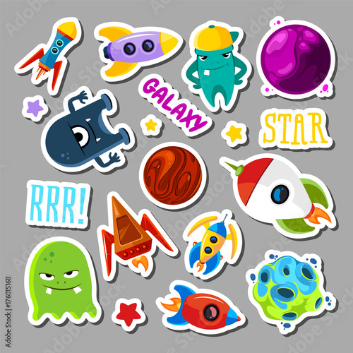 Poster Cartoon draw Set of stickers with space objects and monsters. Cartoon vector illustration for children