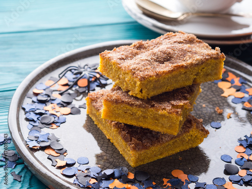 Pumpkin blondies brownies for Halloween holiday party Canvas Print