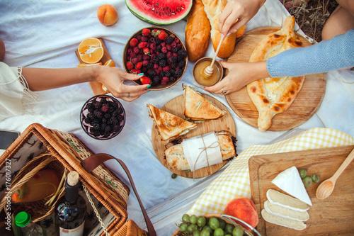 Zdjęcie XXL Zestaw piknikowy z owocami, serem, grzanką, miodem, winem z wiklinowym koszem i kocem. Piękny lata tło z dziewczyną i produktami na naturze