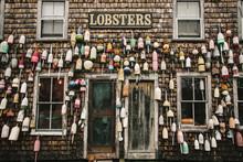 Lobster Buoys On Shack
