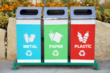Recycling Buckets In The Park