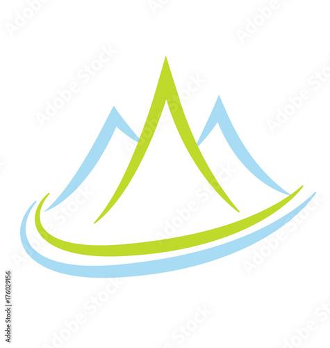 Fotografie, Obraz  Mountain terrain and landscape, icon vector