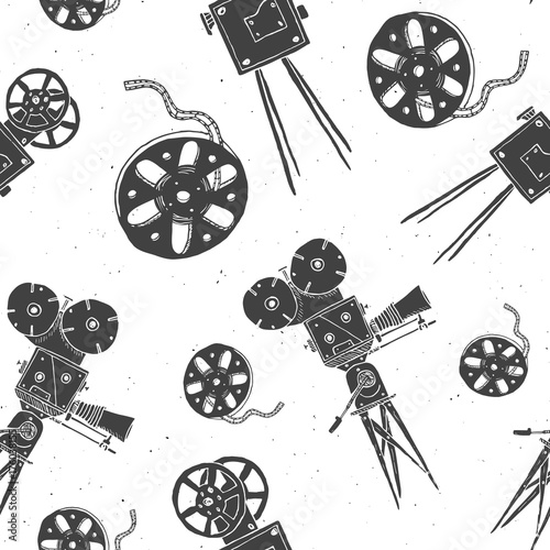 aparat-fotograficzny-i-rolka-rocznika-bezszwowe-wzor-szkic-handdrawn-przemysl-filmowy-retro-ilustracji-wektorowych