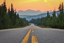 Sunset Above Road And Mountains, Southern Canada