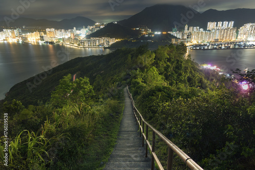 Night scene of Hiking Wilson Trail in Hong Kong city Poster