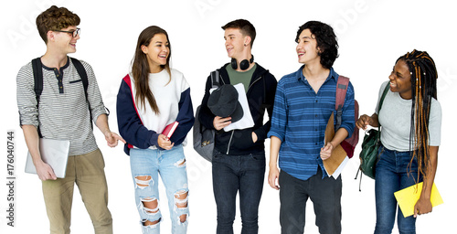 Photo  Group of Diverse High School Students Studio Portrait