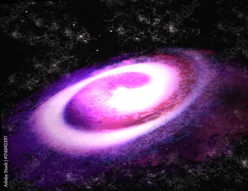 Fototapeta Fioletowy galaktyka spiralna (3d ilustracji)