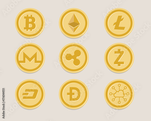 Cryptocurrency Coin Set Bitcoin Digital Currency Virtual Money Exchange Finance Ilration