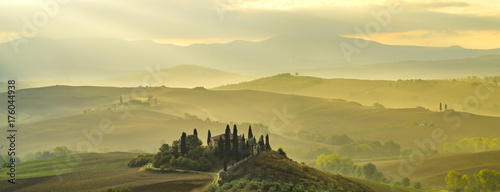 Pienza, Italy-September 2015: autumn panorama of the most beautiful area in Tuscany, Val d'Orcia Valley