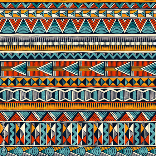 Tribal seamless ornament in vibrant colours Canvas Print