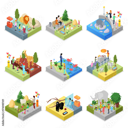 Fotografia, Obraz  Public zoo with wild animals landscapes isometric 3D set