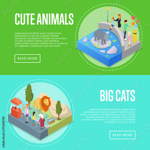 Fotografia, Obraz  Public zoo with wild animals and visitors isometric 3D posters set
