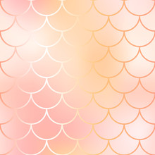 Rose Gold Mermaid Seamless Pattern. Fantastic Fish Scale Vector Pattern.