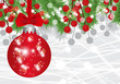 Christmas and New Year background with ball, fir branches and red berries. Vector