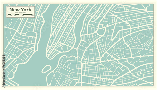Fototapeta New York USA Map in Retro Style.