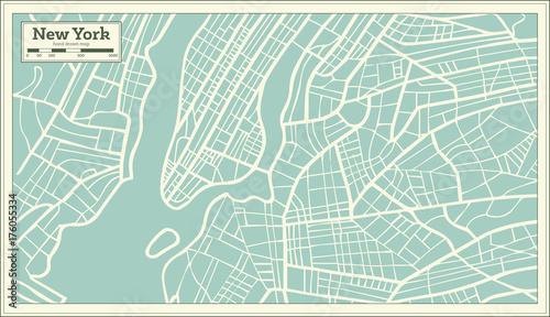 Plakat Mapa USA w Nowym Jorku w stylu retro.