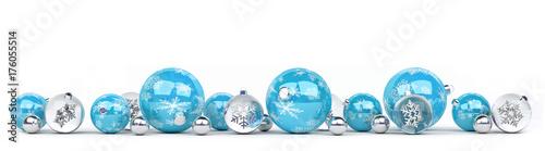 Plakat Baubles niebieski i biały Boże Narodzenie w kolejce renderowania 3D