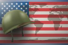 Military Helmet On The Backgro...