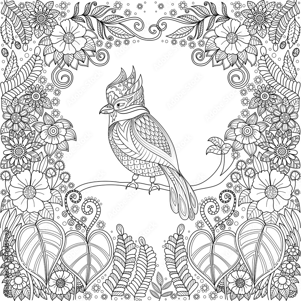 Tropical bird zentangle in jungle with flowers for adult ...