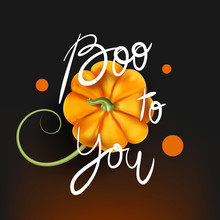 Boo To You (Halloween Party) Background. Beautiful 3d Vector Pumpkin With Vine Top View On Dark Background With Light Effect And Lettering