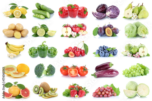 Plakat Owoców i warzyw owoc jabłczani zielarscy cytryna pomidorów kolorów kolaż ciący out odizolowywający