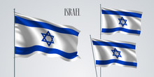Israel Waving Flag Set Of Vect...