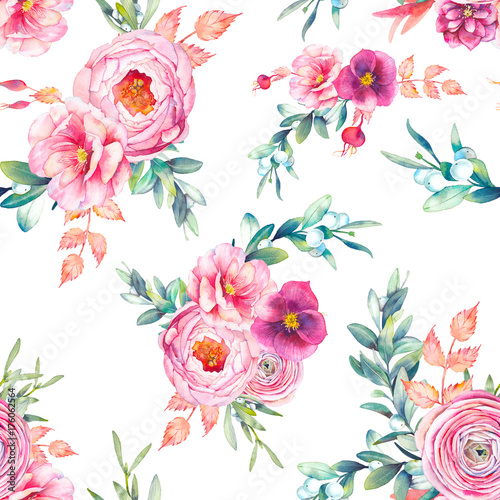 Fototapety, obrazy: Watercolor seamless pattern with peonies flowers, snowberry, mistletoe, eucalyptus leaves. Repeating background with floral elements, peony, roses, ranunculus flowers. Garden style texture