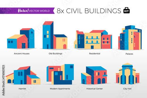 Fotografie, Obraz  Case popolari e edifici del centro storico