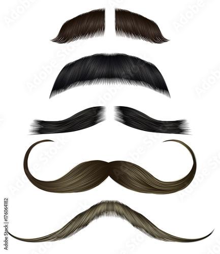 Obraz set vector mustache different colors. - fototapety do salonu