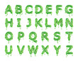 canvas print picture - Green dripping slime halloween alphabet letters. 3D Rendering